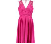 Lace-trimmed Silk-satin Dress Fuchsia