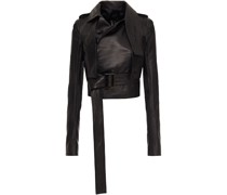 Cropped Belted Leather Jacket