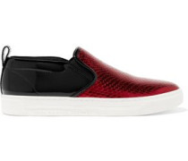 Broome patent and snake-effect leather sneakers