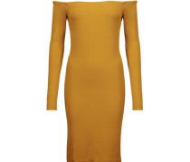 Off-the-shoulder ribbed-knit mini dress