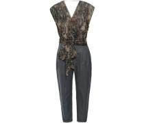 Wrap-effect Silk-georgette And Herringbone Woven Jumpsuit Taupe