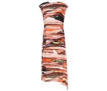 Asymmetric Printed Crepe Midi Dress
