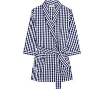 Louise Gingham Cotton-poplin Robe Navy