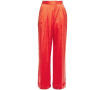 Caressa Pleated Tencel Satin-twill Wide-leg Pants