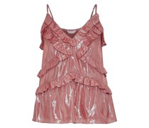 Woman Ruffled Silk And Lurex-blend Camisole Rose Gold