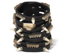 Leather, Bronze And Bone Bracelet Schwarz