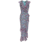 Anita Ruffled Floral-print Fil Coupé Silk-blend Midi Dress