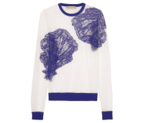 Embroidered Mesh Sweater Blau