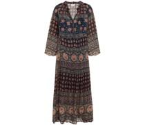 Monaco Gathered Printed Chiffon Midi Dress