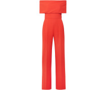 Woman Off-the-shoulder Wool-blend Cady Jumpsuit Coral