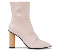 Nazca Ruched Leather Ankle Boots