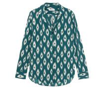 Keira Printed Washed-silk Pajama Shirt Petrol
