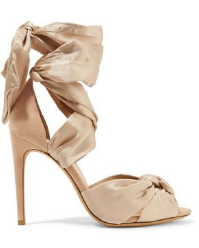 Katherine Knotted Silk-satin And Suede Sandals Beige
