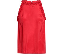 Ruffle-trimmed Crepe De Chine Top