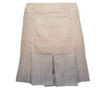 Pleated metallic stretch open-knit mini skirt