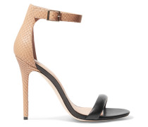 Smooth And Snake-effect Leather Sandals Schwarz