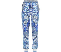 Eternity Crystal-embellished Printed Silk-satin Tapered Pants White