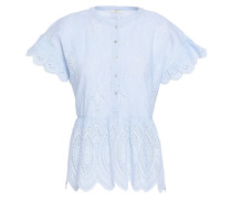 Cerelia Striped Broderie Anglaise-trimmed Cotton Top