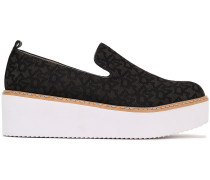 Woman Bari Logo-jacquard Platform Slip-on Sneakers Black