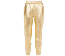 Striped Metallic Leather Track Pants