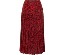Tina Pleated Leopard-print Silk Crepe De Chine Midi Skirt
