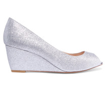 Ivy Glitter-finished Leather Wedge Pumps Silber