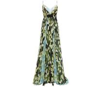 Mehrlagige Robe aus Seidenkrepon mit Floralem Print und Falten