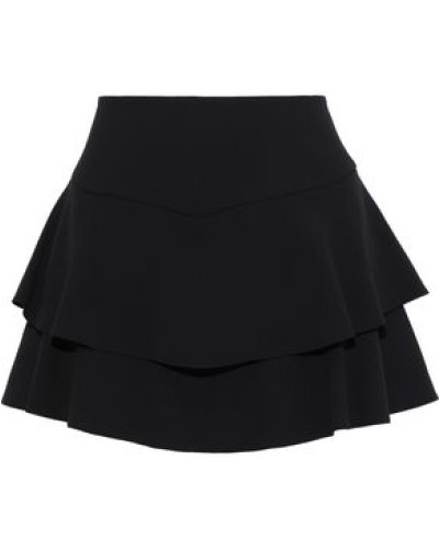 Paloma Layered Ruffled Crepe Shorts Black