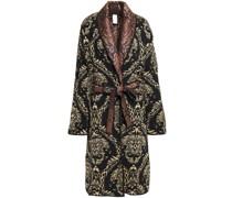 Mantel aus Jacquard aus Einer Wollmischung mit Metallic-effekt und Gürtel