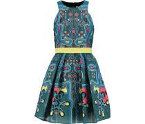 Printed Cloqué Mini Dress Türkis