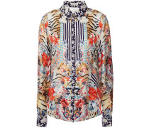 Woman Maikos Midnight Crystal-embellished Printed Silk-twill Shirt Animal Print