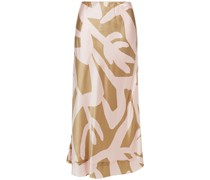 Bella Printed Silk-satin Midi Skirt