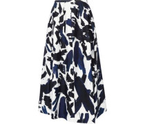 Printed twill midi skirt