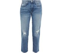 Dre Cropped Distressed Mid-rise Boyfriend Jeans