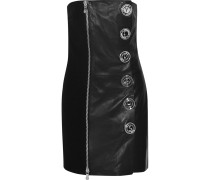 Embellished Crepe-paneled Leather Mini Dress Schwarz