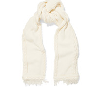 Cable-knit Wool And Cashmere-blend Scarf Elfenbein