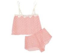 Darlington lace-trimmed polka-dot chiffon pajama set