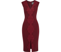 Corded Lace-trimmed Wool-crepe Dress