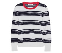 Striped Cotton And Cashmere-blend Sweater Weiß