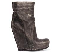 Metallic Textured-leather Wedge Boots Schwarz