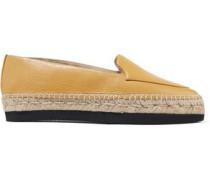 Donatella leather platform espadrilles