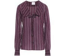 Bow-detailed Striped Cotton And Silk-blend Voile Shirt