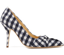 Woman Knotted Gingham Woven Pumps White