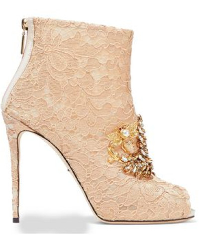 Embellished Lace Ankle Boots Pastel Orange