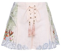 Bedruckte Shorts aus Leinen mit Schnürung und Kristallverzierung