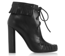 Santa Fe Fringed Leather Ankle Boots Schwarz