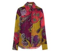 Printed silk-chiffon shirt