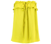 April Strapless Ruffled Silk-blend Top Zitronengelb