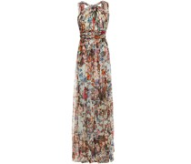 Twist-front Pleated Printed Point D'esprit Gown