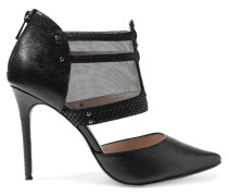 Liberine Mesh-paneled Lizard-effect Leather Pumps Schwarz